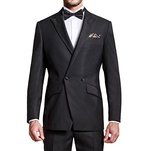 Breasted Double Peak Tuxedo Jacket (HBDesign Mens 2 Piece 1 Button Peak Lapel Slim Fit Double Breasted Tux Black)