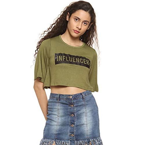 Campus Sutra Casual Half Sleeve Printed Women Green Top