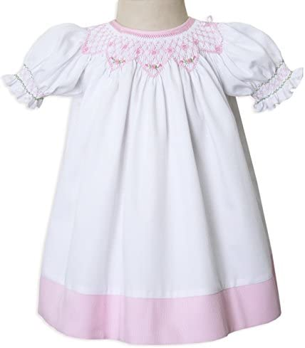 f52bca4ab New Born Baby, Girls White and Pink Smocked Portrait Bisho Dress Up to Size  8