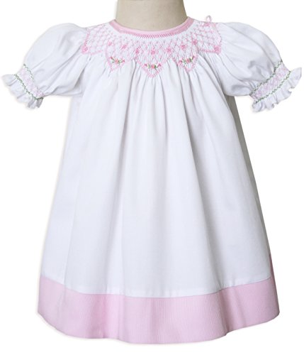 Carouselwear New Born Baby, Girls White and Pink Smocked Portrait Bishop Dress Up To Size (Heirloom Smocked Dresses)