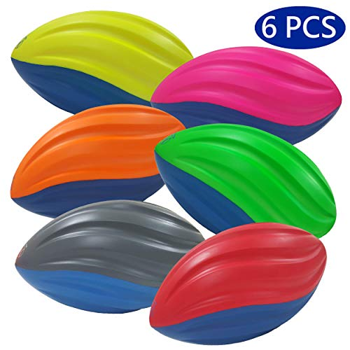 Macro Giant 7.5 Inch Safe Soft Foam Spiral Football, Set of 6, Assorted Colors, Practice Training, Kid Toy, Yard Game, Indoor Outdoor ()