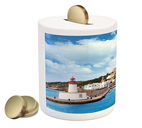 Lunarable Ibiza Piggy Bank  Eivissa A Town From Ibiza Balearic Islands Northwest Mediterranean Sea Photography  Printed Ceramic Coin Bank Money Box For Cash Saving  Multicolor