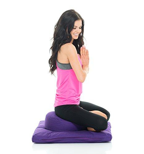 Awaken Higher Self LLC Awaken Meditation Hand/Machine Washable Round Zafu Zabuton Yoga Mat & Cushion Set Filled with Buckwheat - 100% Cotton (Purple) by Awaken Higher Self LLC