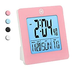 MARATHON CL030050PI Digital Desktop Clock with Day, Date, Temperature, Alarm and Backlight. black - Batteries Included