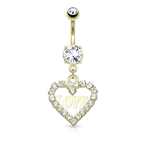 Dynamique Crystal Paved Hollow Heart Dangle 316L Surgical Steel Belly Button Navel Ring