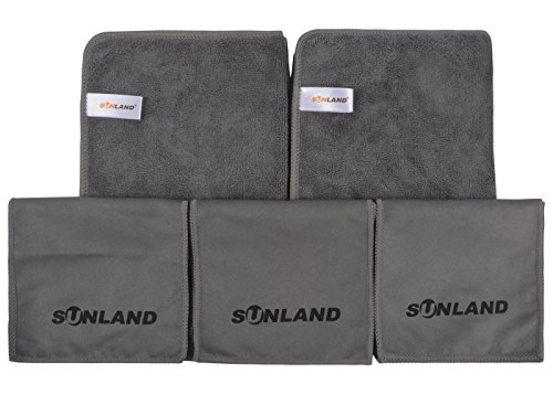 SUNLAND Microfiber Shoe Shining Buffing Cloths - 3 Polishing Cloths & 2 Cleaning Cloth - Best for Leather Polish
