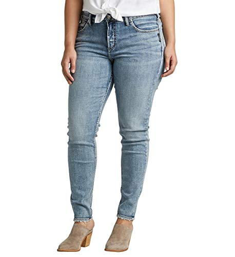Silver Jeans Co. Women's Plus Size Avery High-Rise Curvy Skinny Jeans, Power Stretch Vintage, 16W x 31L