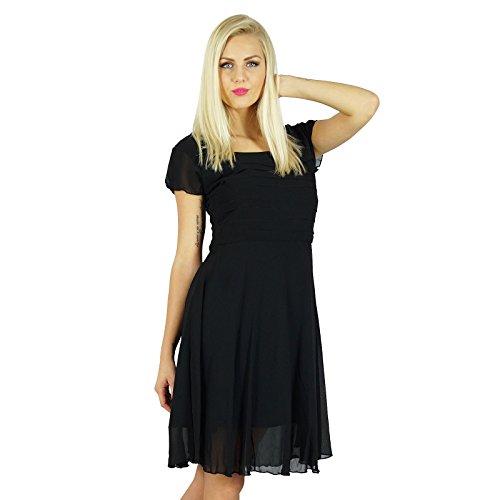(Bimba Women Little Black Dress Semi Sheer Georgette Pleated Top Lined Dress)