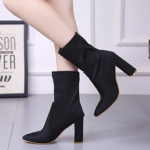 wuayi Frauen Winter Schuhe Slim Denim High Heels Stiefel Spitz Knie-High Kampf Stiefel Schwarz