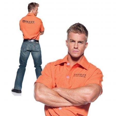 [Underwraps Men's Prisoner Shirt,Orange,One Size] (Orange Is The New Black Costume Back)