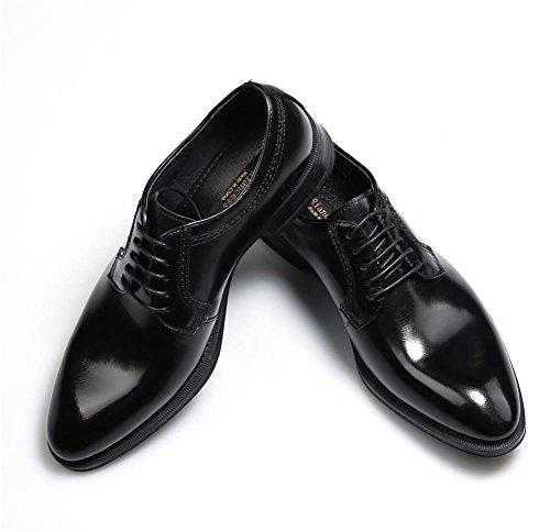 Hombres Formal Negocio Boda Negro Cuero Zapatos Puntiagudo Dedo del pie Hecho a mano Oxford Encajes para Hombres Fiesta tamaño 38-44 black