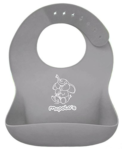 McPolo's Elephant Icecream iBib TAKASHI Series - the ''iPhone'' in Silicone Baby Bib World - Fitting MORE Growing Babies 2 MO to 6 YO Toddlers & PreSchoolers comfortably with Smart Buttons by McPolo's