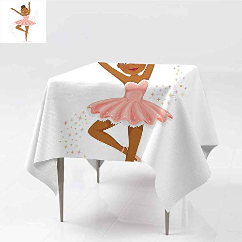 (Jbgzzm Girls Washable Tablecloth Ballerina Dancing Daughter Classic Performance Hobby Birthday Kids Baby Theme Indoor Outdoor Camping Picnic W60 xL60 Rose and Brown)