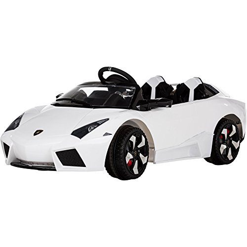 Rocket Lambo 12V Ride on Kids Car with Remote Control - Lamborghini Style - 4 Colours (White) by Rocket