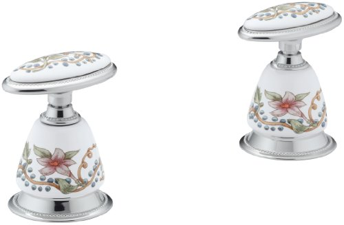 KOHLER K-258-FL-0 Antique English Trellis Ceramic Handle Insets and Skirts, White ()