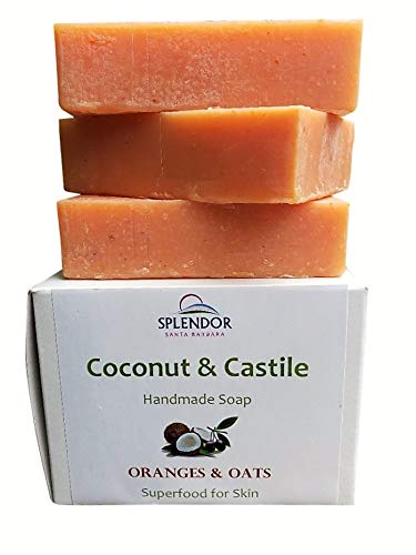 Oranges & Oats Coconut Castile Face and Body Bar Soap with ORGANIC Shea butter. Handmade USA, Vegan, Natural, Moisturizing.