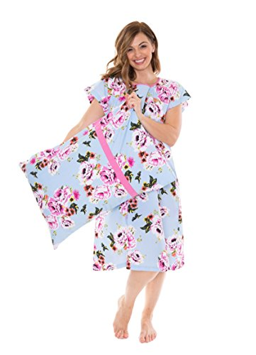 Gownies Labor and delivery Maternity Hospital Gown and Pillowcase Set, Hospital Bag Must Have, Best Baby Shower Gift