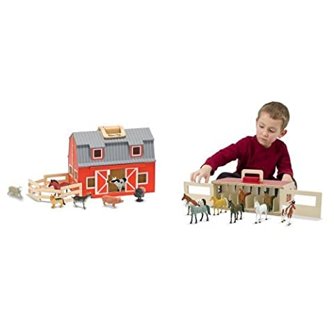 Melissa & Doug Fold and Go Barn & Show Horse Stable Bundle - Folding Horse Stable Wood