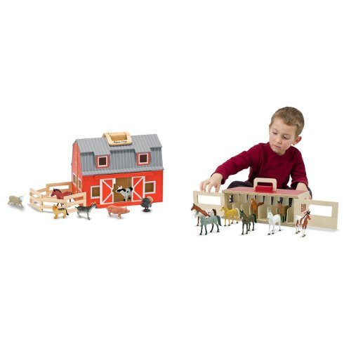 Melissa & Doug Fold and Go Barn & Show Horse Stable Bundle