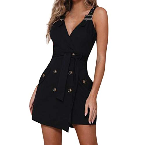(kemiove Women Dresses, Sexy Sling Live Buckle Twisted Stack Hip Dress Black)