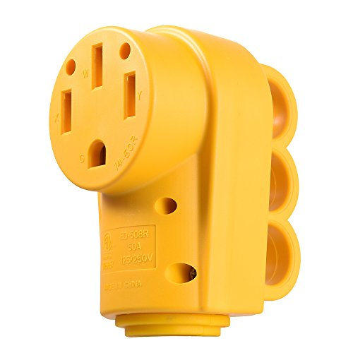 (MICTUNING 125 250V 50Amp Heavy Duty RV Female Replacement Receptacle Plug with Ergonomic Grip Handle)