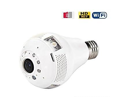 Cámara espía en Bombilla IP WiFi 3W 960p Gran Angular con visión Nocturna y detección de