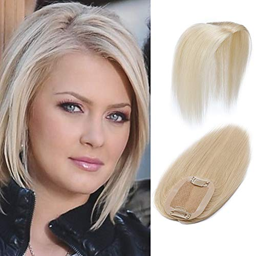 100% Remy Human Hair Silk Base Top Hairpieces Replacement Clip in Topper For Women Crown Top Piece Short 6''/6inch #60 Platinum Blonde 15g