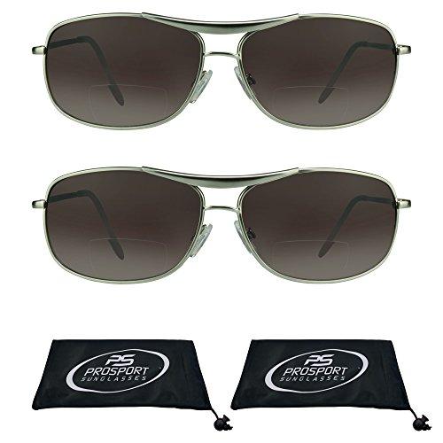 Aviator Bifocal Sunglasses for Men. (Silver + Silver Combo, - Combo Sunglasses