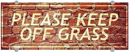 Please Keep Off Grass 8x3 CGSignLab Ghost Aged Brick Premium Acrylic Sign
