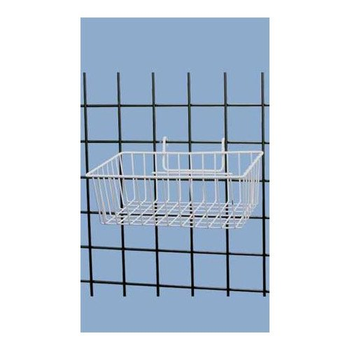 White Powder Coat Finish Mini-grid Basket - 12''l X 8''w X 4''d
