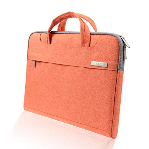 CERRO 13.3 14 Inch Water-Resistant Canvas Fabric Laptop Sleeve/Notebook Computer Case/Ultrabook Briefcase Carrying Bag (14 Inch, Orange)