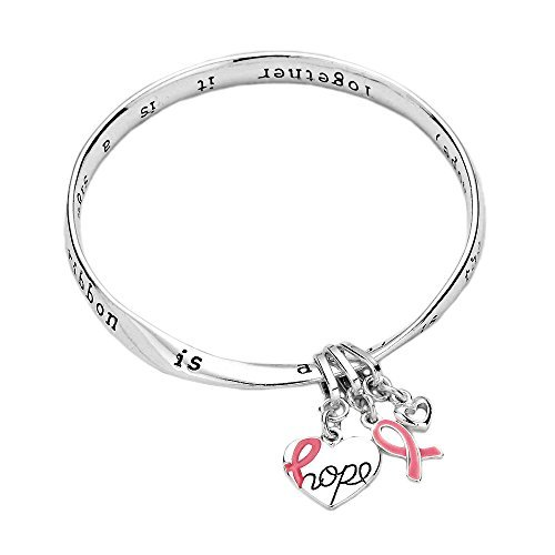 Rosemarie Collections Women's Breast Cancer Awareness Pink Ribbon Charm Twist Bangle Bracelet Hope