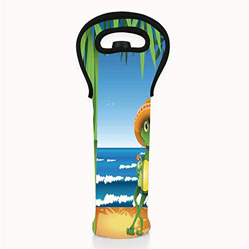 Neoprene Wine/Water Bottle tote bags, Animal Decor,Illustration of a Frog on Sandy Beach with Palm Trees and Ocean Tropical Print,Green Blue Cream,Fit for Champagne,Wine,Beer Bottles,Drinks