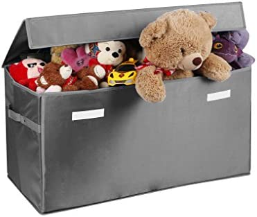 Prorighty Collapsible Toy Chest for Kids (XX-Large) Storage Basket w/Flip-Top Lid | Toys Organizer Bin for Bedrooms Closets Child Nursery | Store Stuffed Animals Games Clothes (Light-Grey)