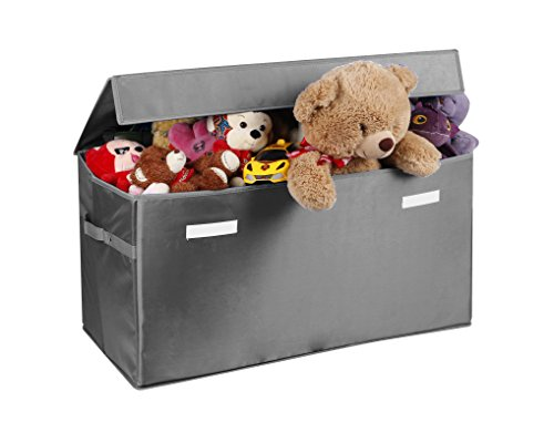 Large Collapsible Storage (Collapsible Toy Chest for Kids (Large) Storage Basket w/ Flip-Top Lid | Organizer Bin for Bedrooms, Closets, Child Nursery | Store Stuffed Animals, Games, Clothes (Light-Grey))