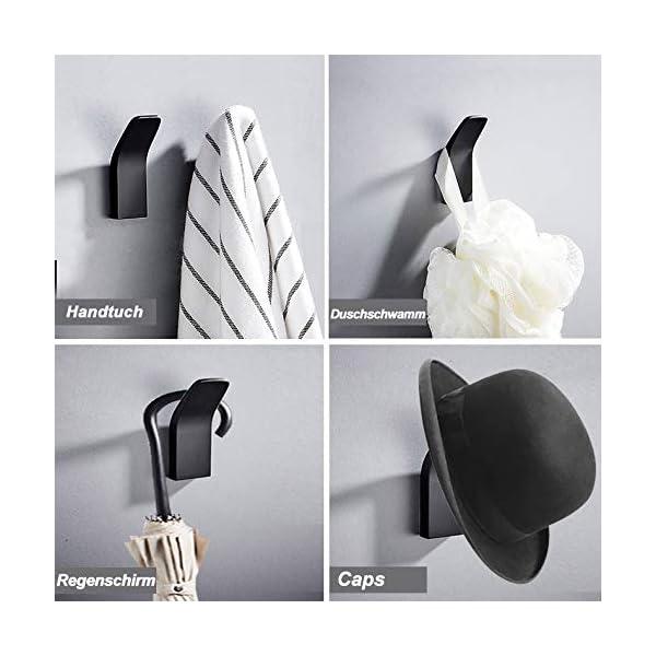 41XXfhWA20L Handtuchhalter ohne bohren, 5 Stück Handtuchhaken Kleiderhaken Wand, Edelstahl Wandhaken Garderobenhaken, Rostfrei Haken…