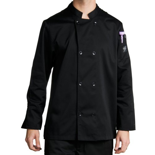Chef Revival J061 24/7 Poly Cotton Blend Long Sleeve Unisex Cool Crew Jacket with Black Pearl Bottons, Large, Black ()
