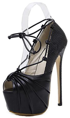Easemax Womens Trendy Snakeskin Ruffle Peep Toe Platform High Stiletto Heel Pumps Shoes Black E44ieCN