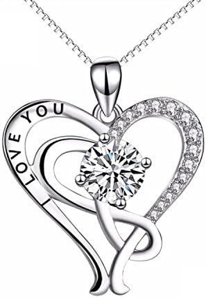 CS-DB Infinity Love Open Heart Crystal CZ Top Stylish Silver Necklaces Pendants
