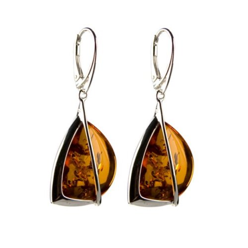 Honey Amber Sterling Silver High Quality Modern Leverback Large Earrings by Ian & Valeri Co.