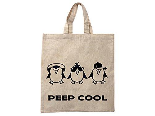 Hanessa Leinbeutel Jutebeutel aus Baumwolle mit lustigem Spruch  Peep Cool  Sport-tasche Einkaufs-tasche mit Vogel Motiv 3Kamo9z