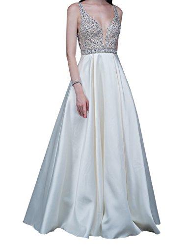 Tief Neu Ausschnitt Brautkleider Damen Charmant Promkleider Abendkleider A Festlichkleider V Weiß Linie 2018 Lang tEwHxq4