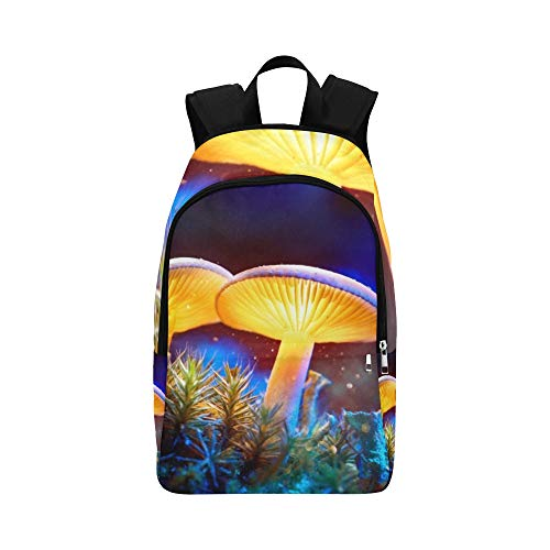 Mushroom Fantasy Glowing Mushrooms Mystery Dark Casual Daypack Travel Bag College School Backpack for Mens and Women Blue Glowing Fantasy Mushrooms