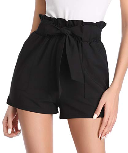 Aprance Paper Bag Shorts for Women High Waisted Tie Casual Summer Shorts with Pockets DK_XBK_S