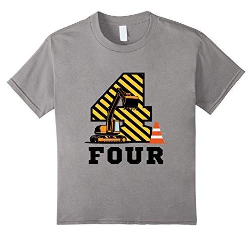Kids Construction Birthday Boy Shirt 4 Years Old 4 Slate