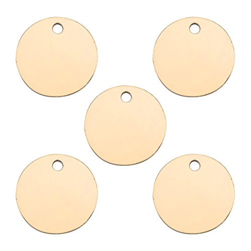 VALYRIA 50pcs Silver Tone Stainless Steel Blank Stamping Tags Round Charm Pendants - Custom with Any Words (Gold Plated-12mm(5pcs))