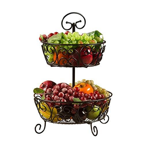 Xiao-bowl2 Metal 2 Layers Fruit Basket Dessert Storage Tray Cake Snack Bowl Plate Creative Living Room Decorative Dried Fruit Basket