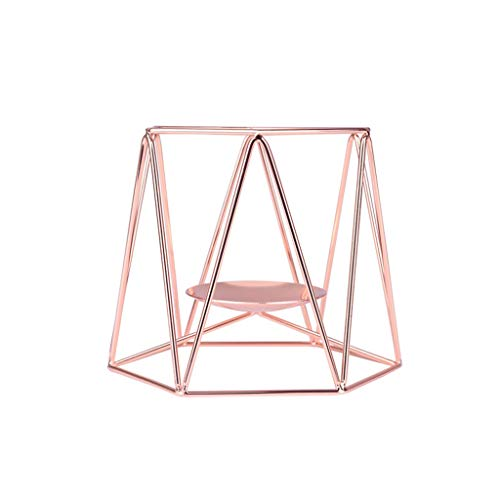 Longay Candle Holder Nordic Style Wrought Iron Geometric Candle Holders Home Decoration Metal Crafts (S, Rose Gold) -