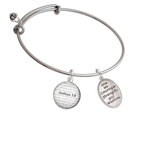 Bible Verse Joshua 1:9 Glass Dome Bangle Bracelet Silvertone Give Me Courage Strength Wisdom Medallion