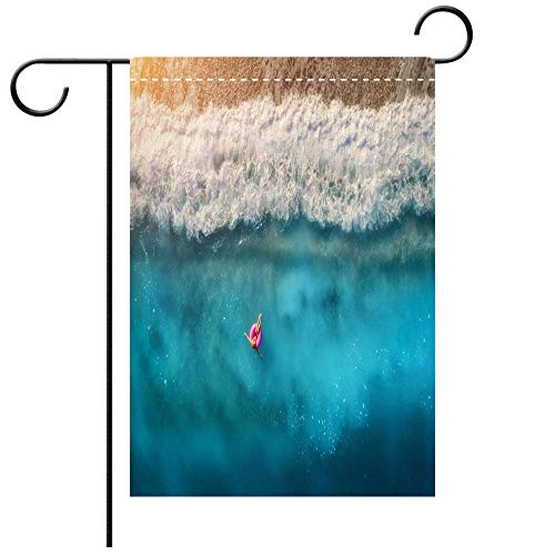 - BEICICI Double Sided Premium Garden Flag Aerial View of Slim Woman Swimming on The Pink Swim Ring in The Transparent Turquoise sea in Decorative Deck, Patio, Porch, Balcony Backyard, Garden or Lawn
